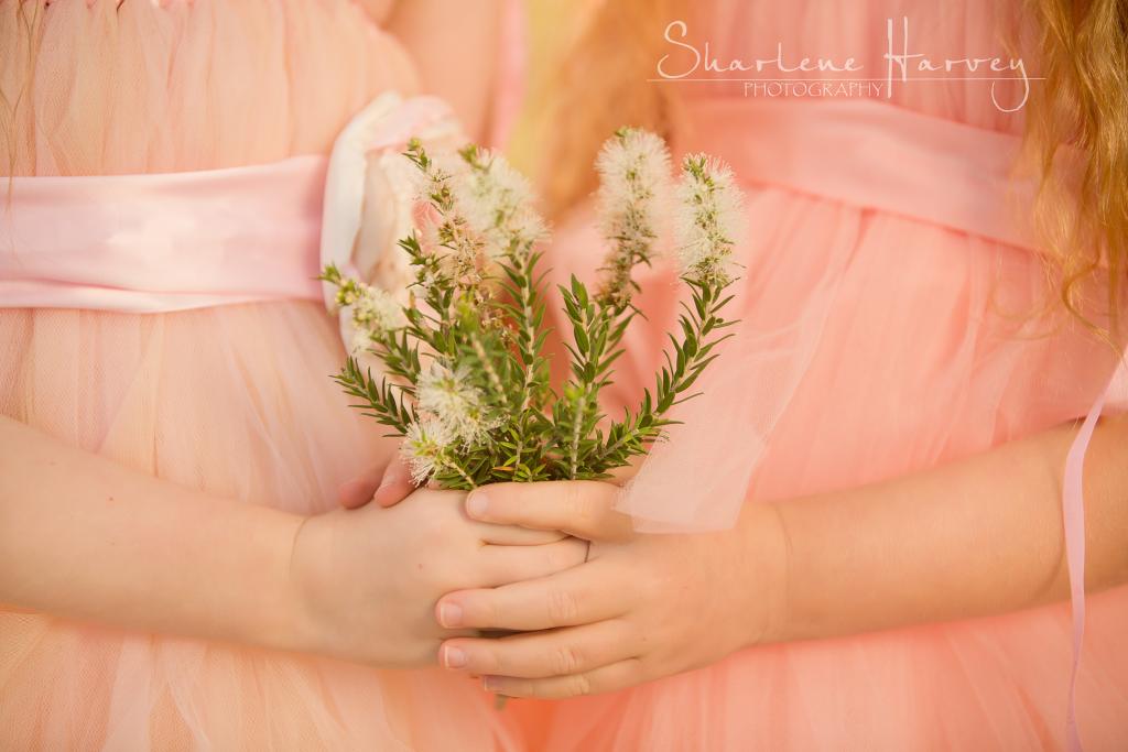 Children holding flowers