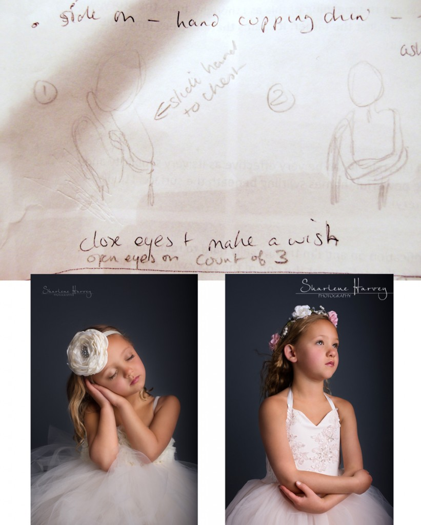 Photograph and sketch of girls posing for the camera