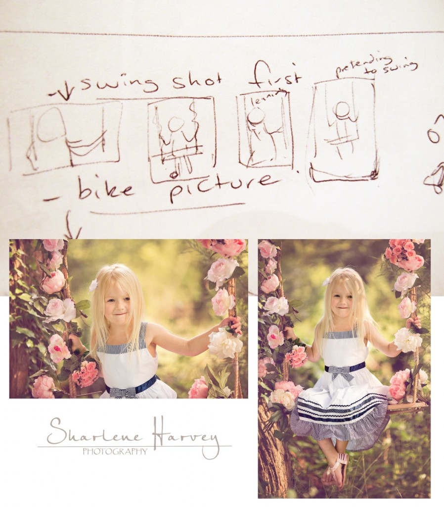 Planning sketches of photograph of girl on swing