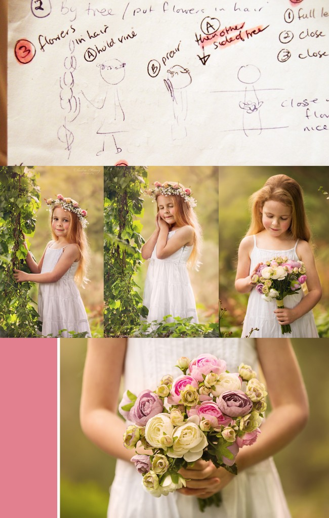 Example of behind the scene planning at photography session