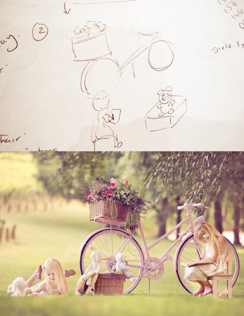 Photography Sketch Plan of girls playing by a bike