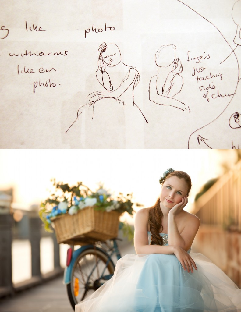 Photograph and sketch of girl sitting by a bike with flowers
