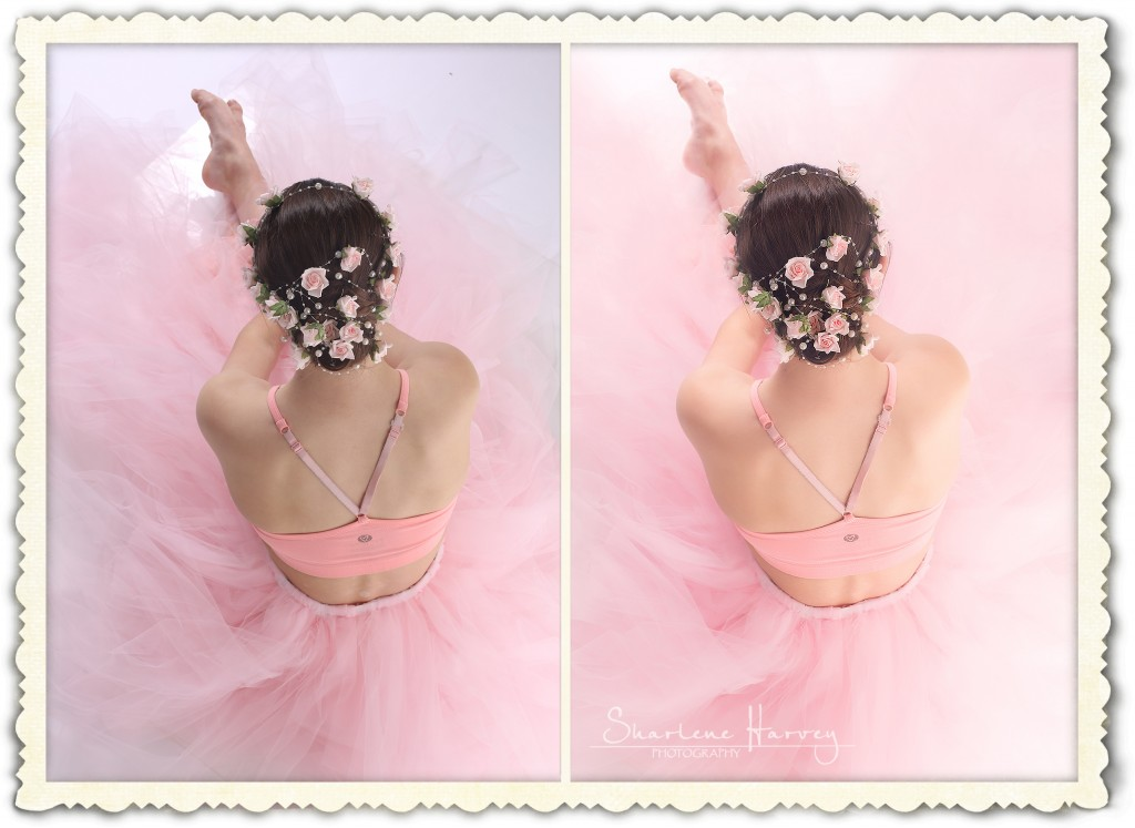 Before and After photo of ballet dancer in pink tutu